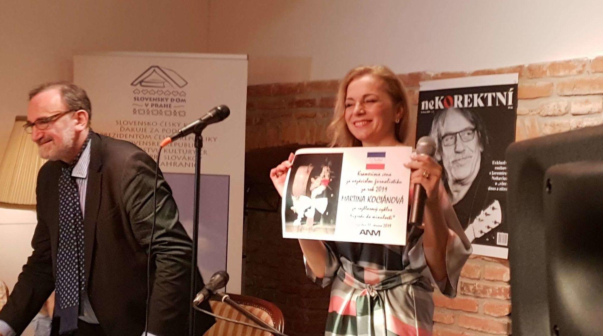 Udílení Krameriovy ceny nezávislým žurnalistům, Slovenský dům, Praha 2019