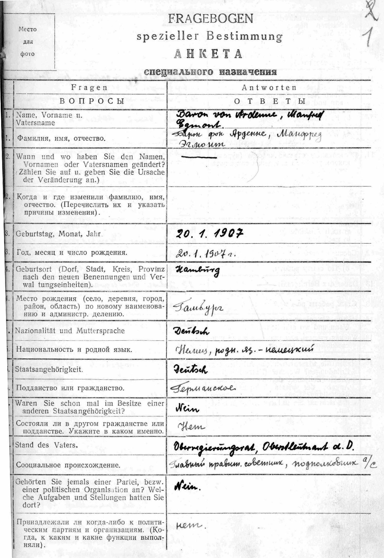 List ze zvláštního dotazníku Manfreda von Ardenne