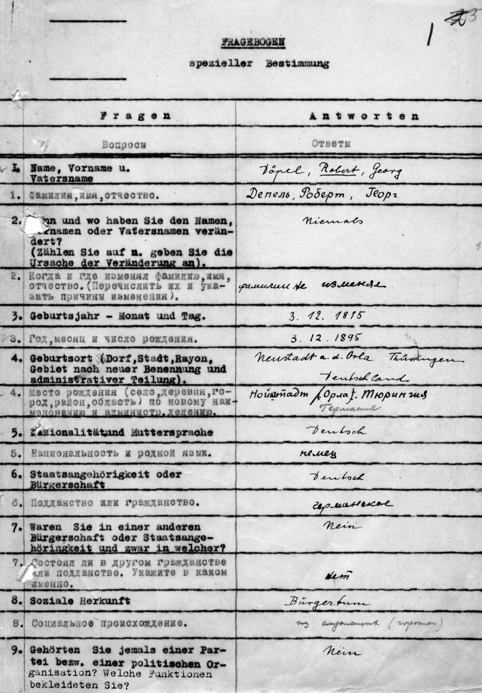 List ze zvláštního dotazníku Roberta Döpela