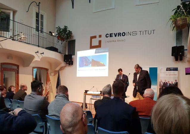Pohled do átria CEVRO, kde se konala přednáška