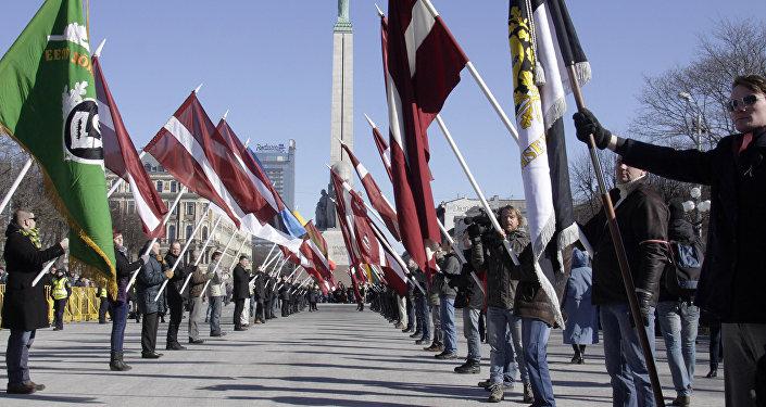 Pochod veteránů lotyšské legie SS v Rize