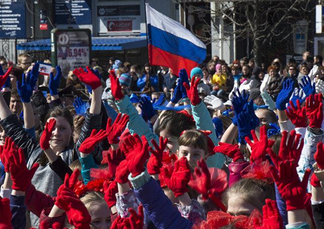 Oslava výročí Krymského jara v Simferopolu