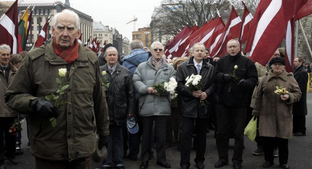 Průvod legionářů SS v Rize