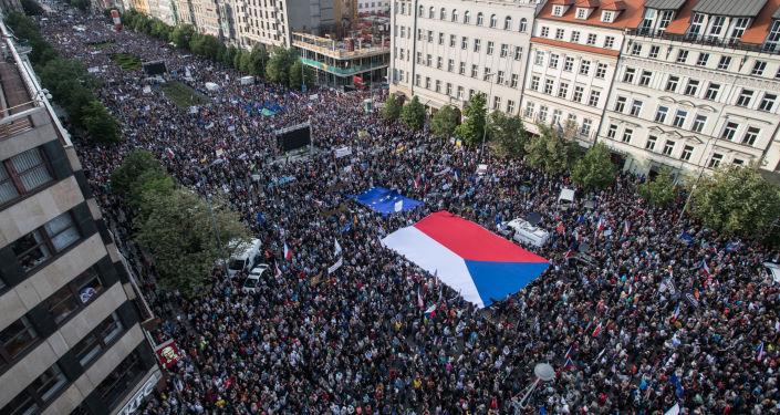 Demonstrace na pražském Václavském náměstí v úterý 21. května 2019. Ilustrační foto
