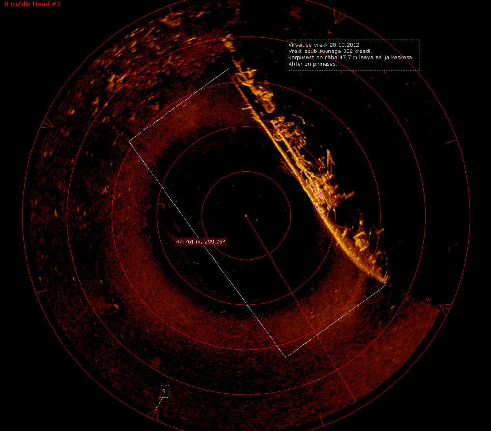 Potopená lotyšská minolovka Virsaytis na obrazovce sonaru