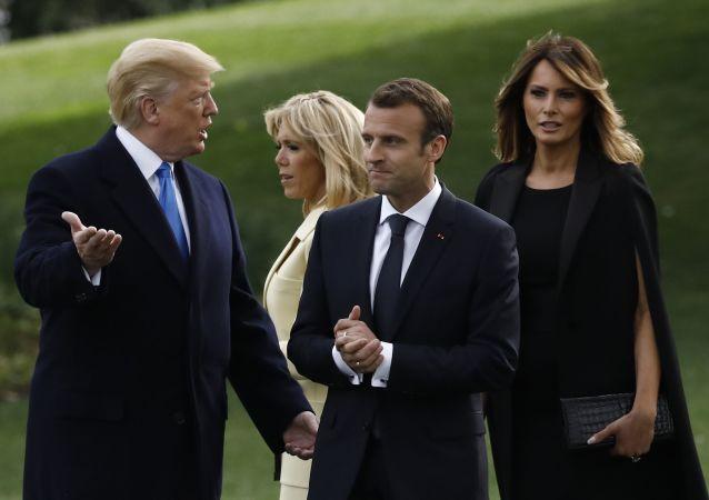 Donald Trump a Emmanuel Macron v USA