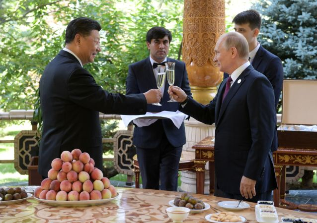 Vladimir Putin a Si Ťin-pching během schůzky v rezidenci čínského lídra v Dušanbe