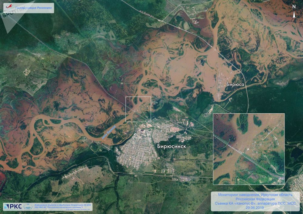 Snímek Irkutské oblasti z vesmíru.
