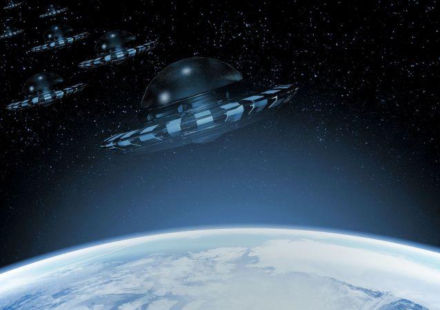 Umělecký obraz UFO poblíž Země