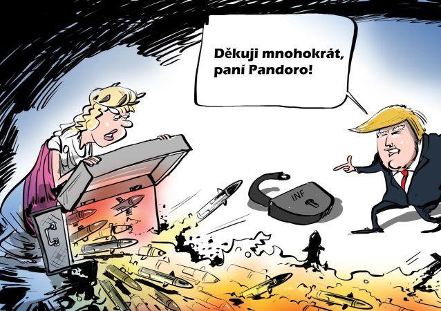 Karikatura USA otevírají Pandořinu skříňku