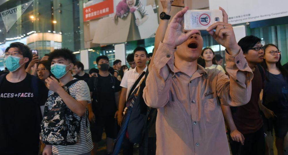 Protestující v Hongkongu