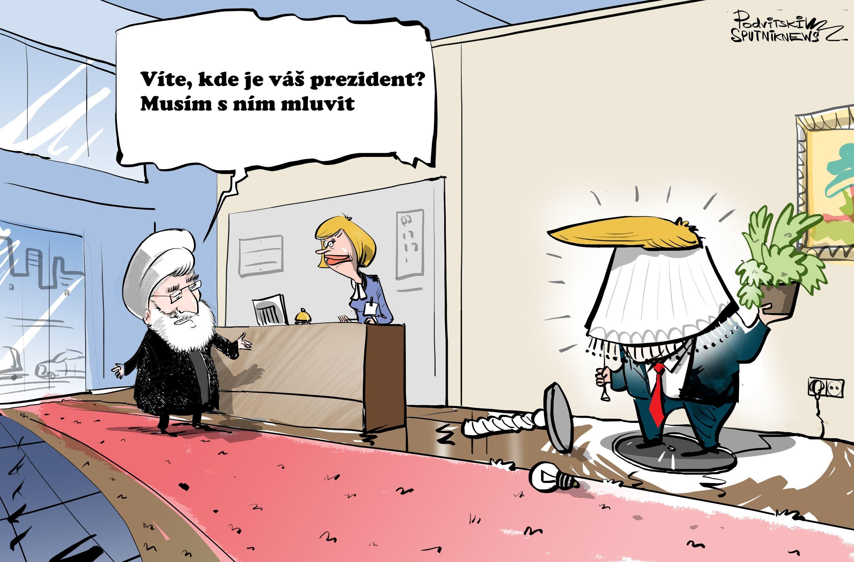 Karikatura: Trump nechce mluvit s Rúháním