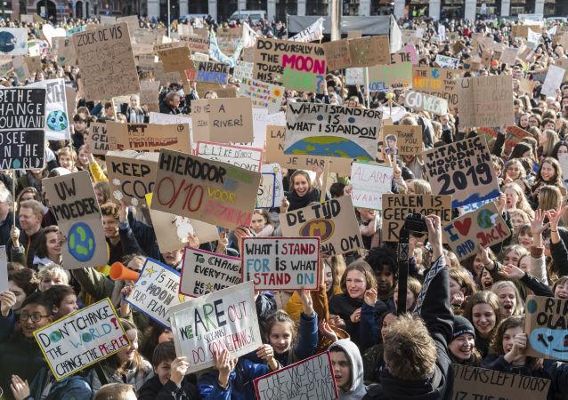 Protestní akce v belgické Lovani proti klimatickým změnám