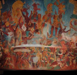 Rekonstrukce fresky mayské civilizace