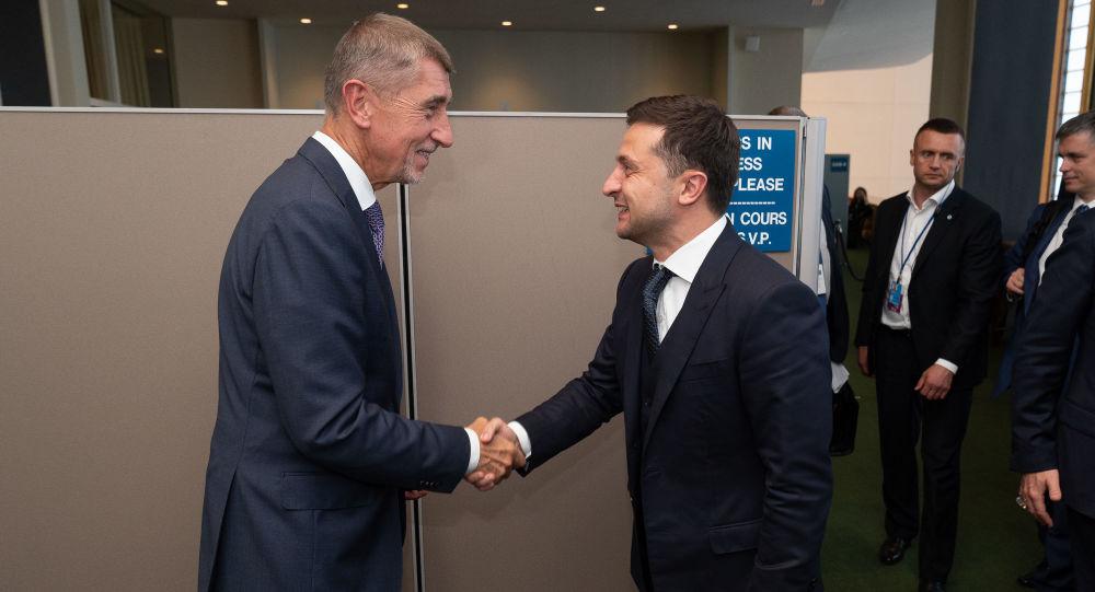 Premiér České republiky Andrej Babiš na setkání s ukrajinským prezidentem Volodymyrem Zelenským během 74. zasedání Valného shromáždění OSN