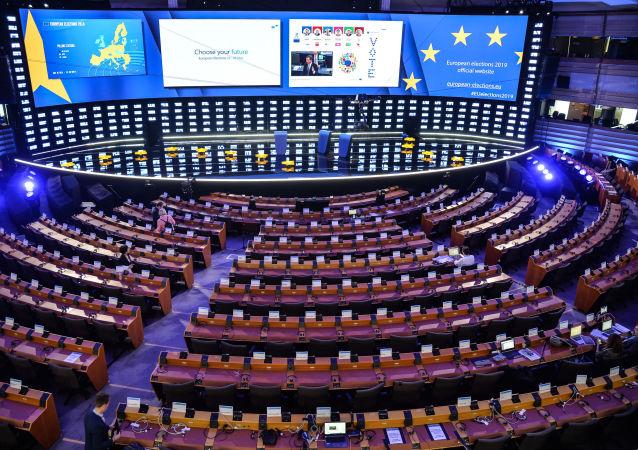 Zasedací místnost v Sídle evropského Parlamentu v Bruselu