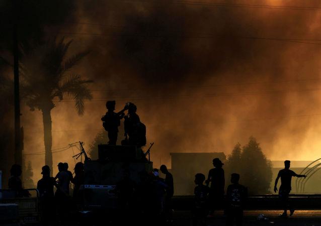 Protestní akce v Bagdádu.