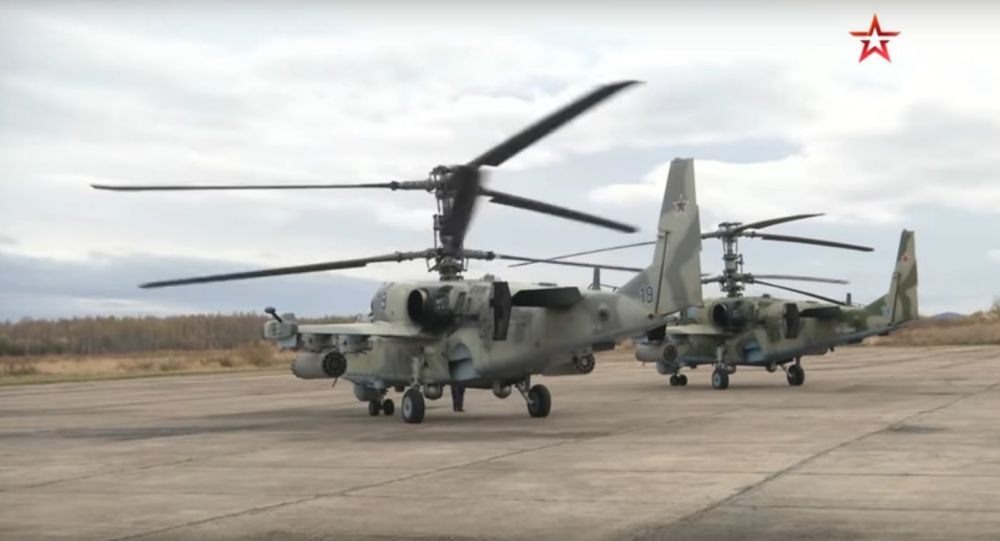 Byla natočena střelba bitevních vrtulníků Ka-52 Alligator