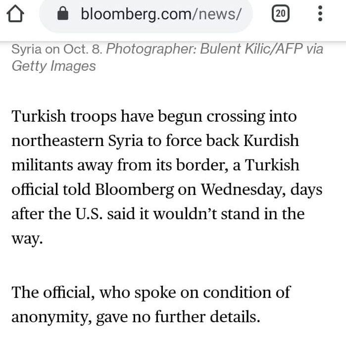Bloomberg informuje o tureckém překročení hranic Sýrie