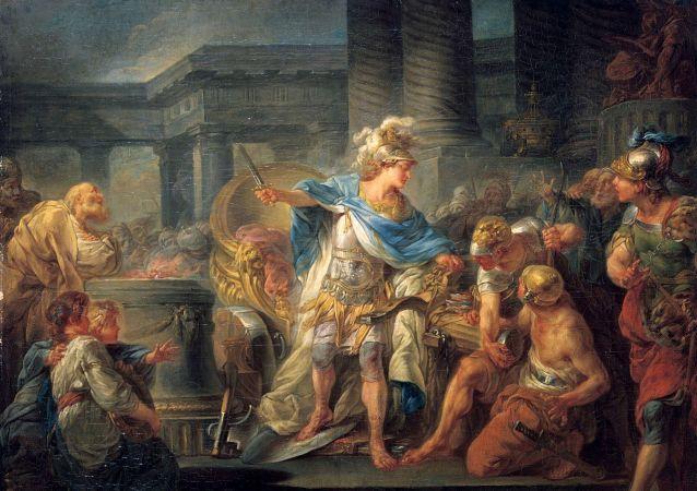 Alexandr rozsekává gordický uzel