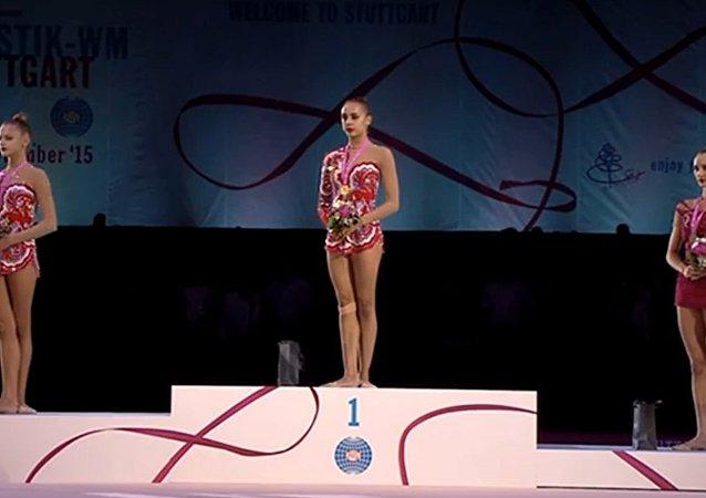 Na MS v moderní gymnastice v Německu si znovu spletli hymnu RF