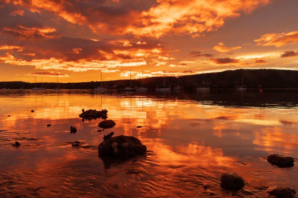 Východ slunce v Tasmánii (Austrálie)