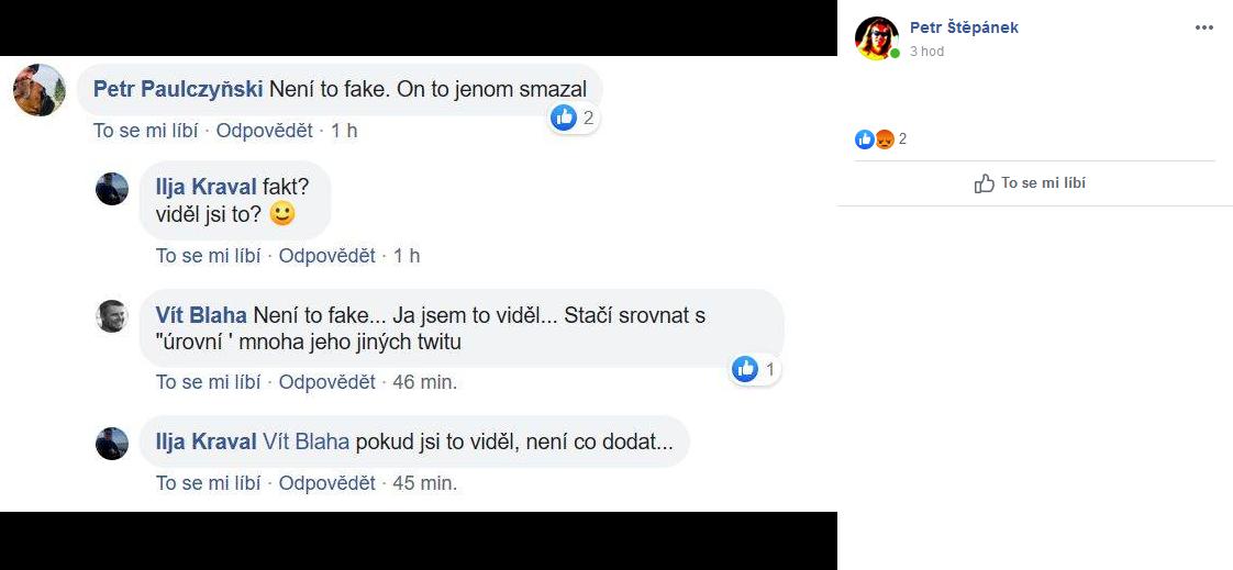 Důkaz o pravosti tweetu Pavla Novotného