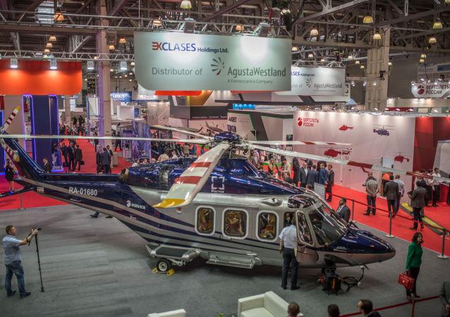 Italský vrtulník Agusta AW-139  na mezinárodní výstavě HeliRussia 2015