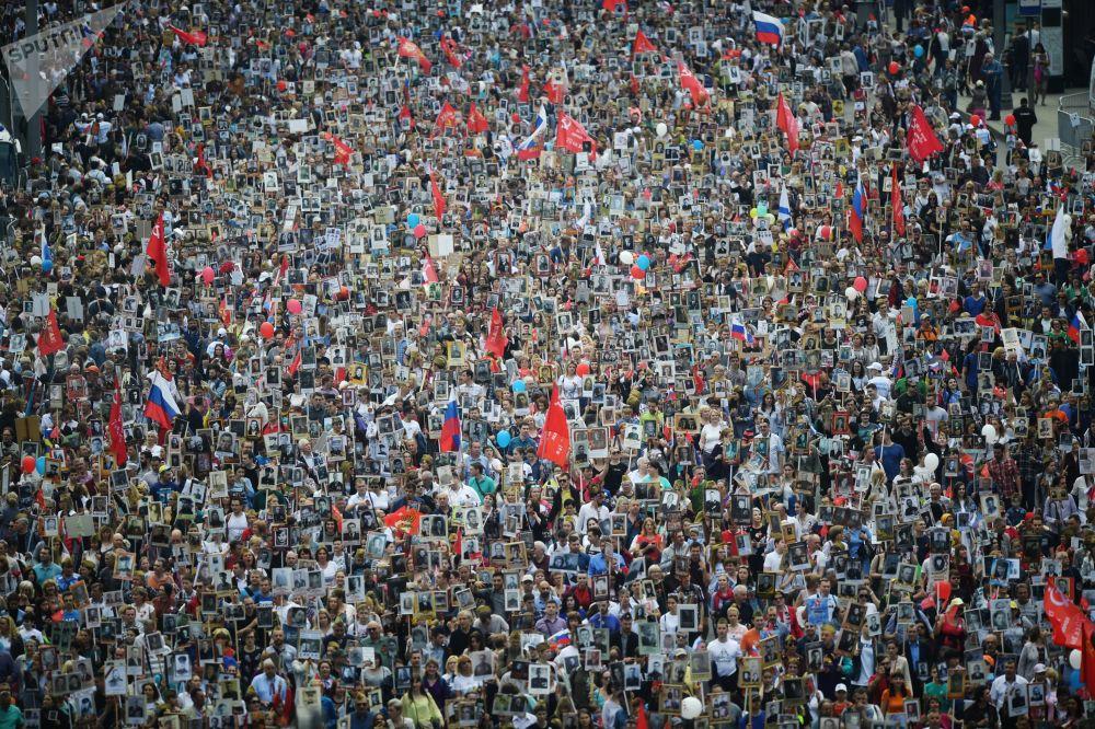 Účastníci akce Nesmrtelný pluk v Moskvě
