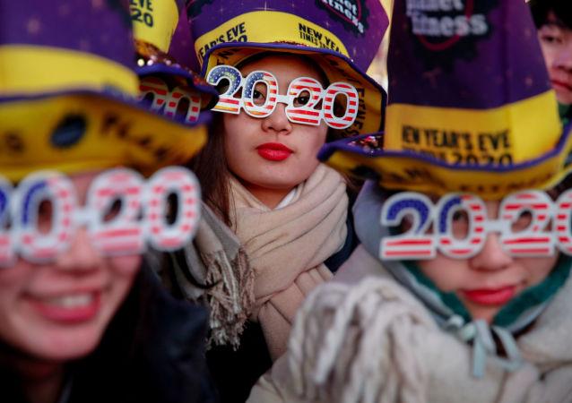 Silvestrovské oslavy na Times Square v New Yorku