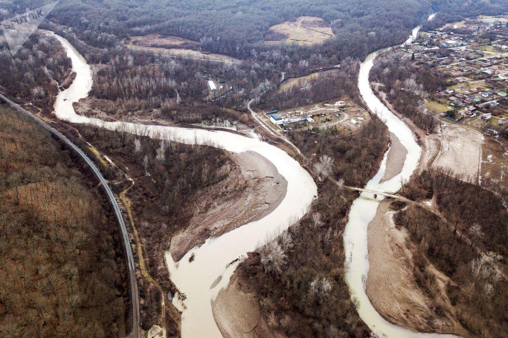 Zaplavená vesnice v Krasnodarském kraji