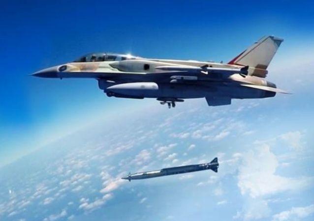 Izraelská stíhačka odpaluje raketu typu vzduch-země
