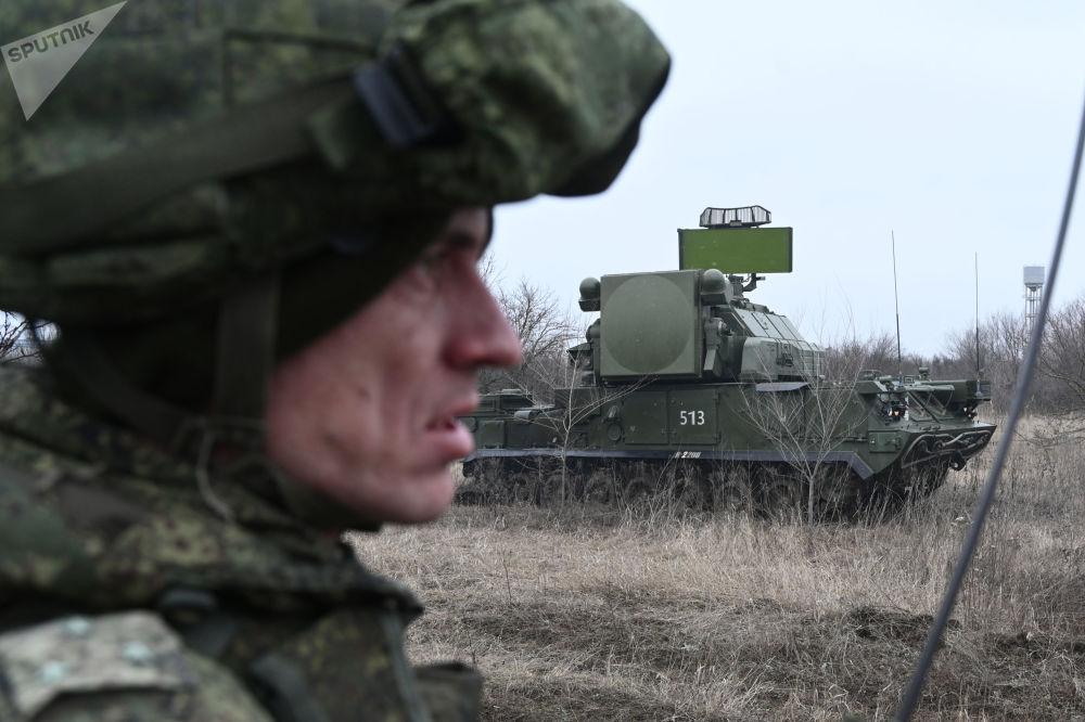 Protiletadlový raketový komplex Tor během taktických cvičení ruské armády. Rostovská oblast, Rusko.