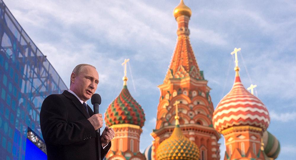Ruský prezident Vladimir Putin na mítinku věnovaném připojení Krymu k Rusku