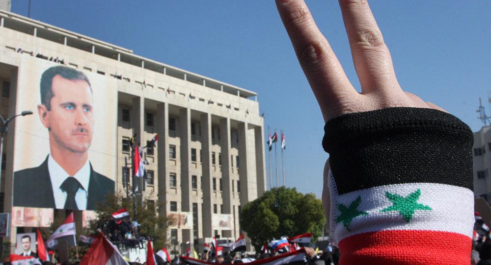 Demonstrace v Sýrii na podporu Bašára Asada