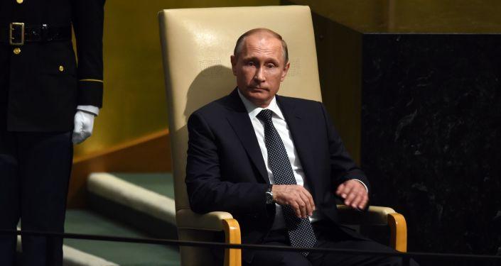 Vladimir Putin před vystoupením na Valném shromáždění OSN