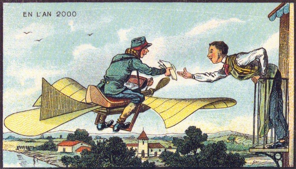 Létající pošťák. Určitě by vydělával více než nynější listonoši. A neměl by žádné problémy se psy, snad pouze s létajícími
