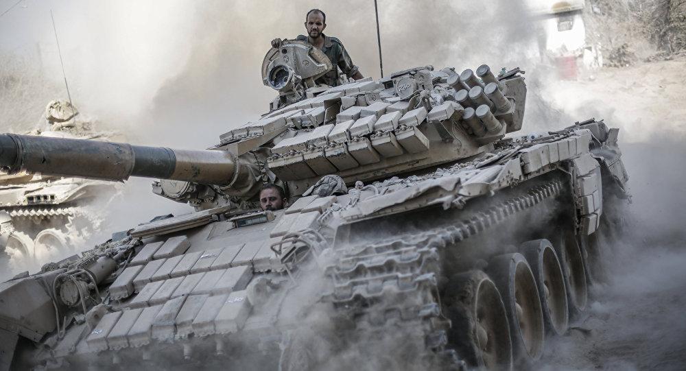 Syrský tank u Damašku