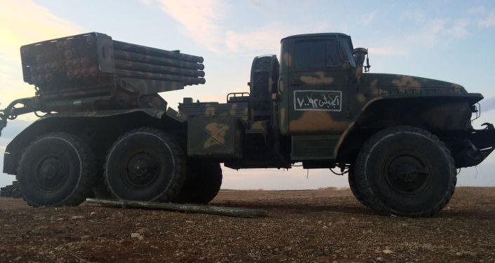 Raketomet Grad na severu provincie Hamá