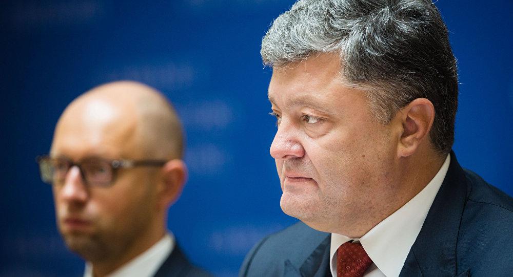 Arsenij Jaceňuk a Petro Porošenko