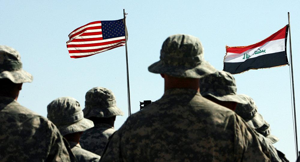 Vlajky Iráku a USA