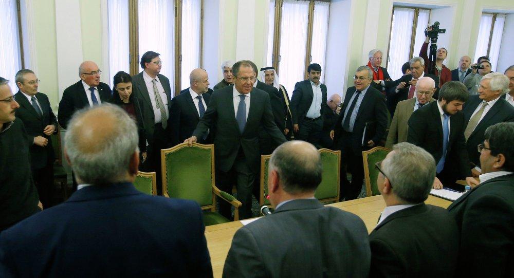 Sergej Lavrov a představitelé syrské opoziice