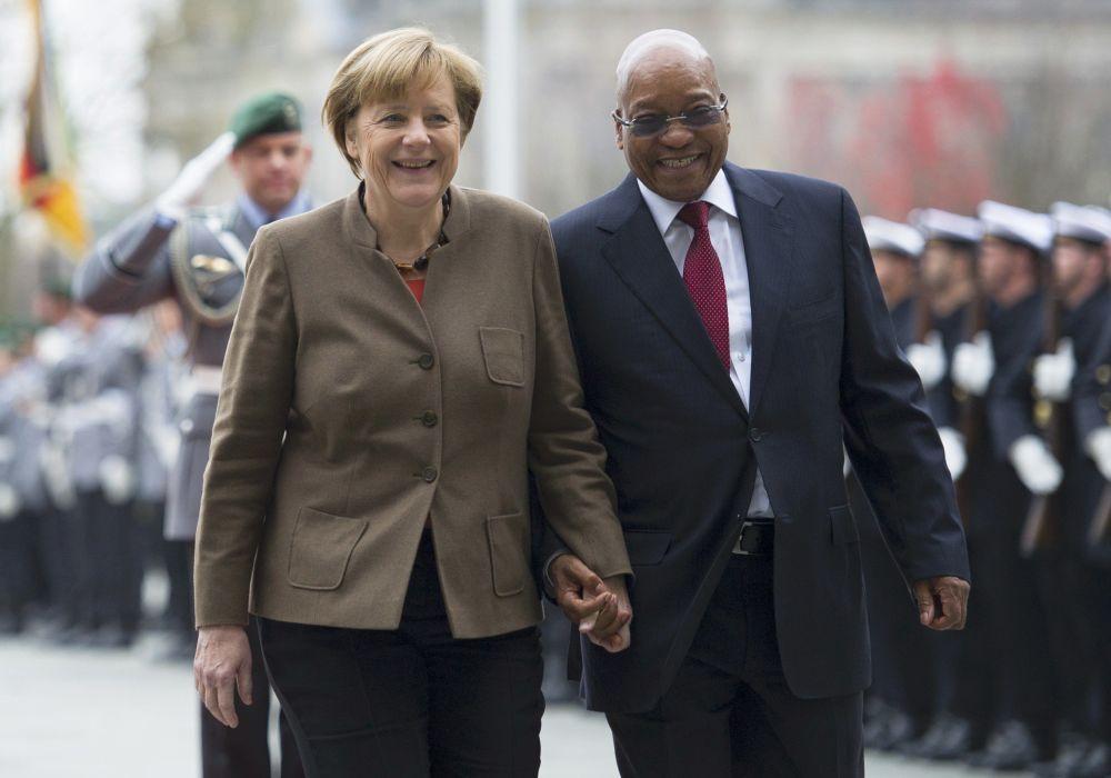 Německá kancléřka Angela Merkelová a prezident Jihoafrické republiky Jacob Zuma