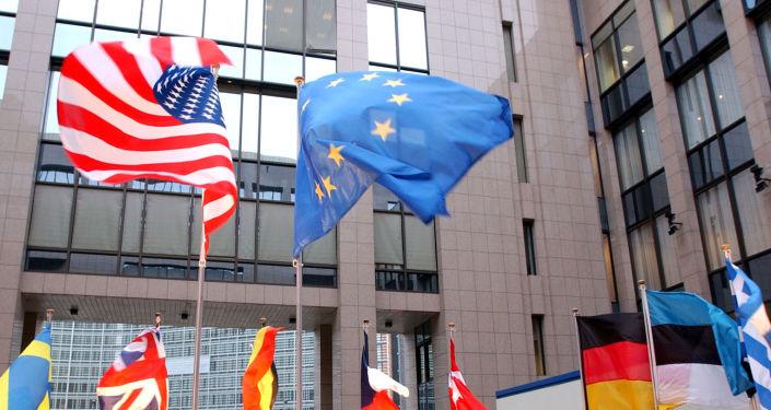 Vlajky EU a USA