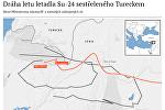 Dráha letu letadla Su-24 sestřeleného Tureckem