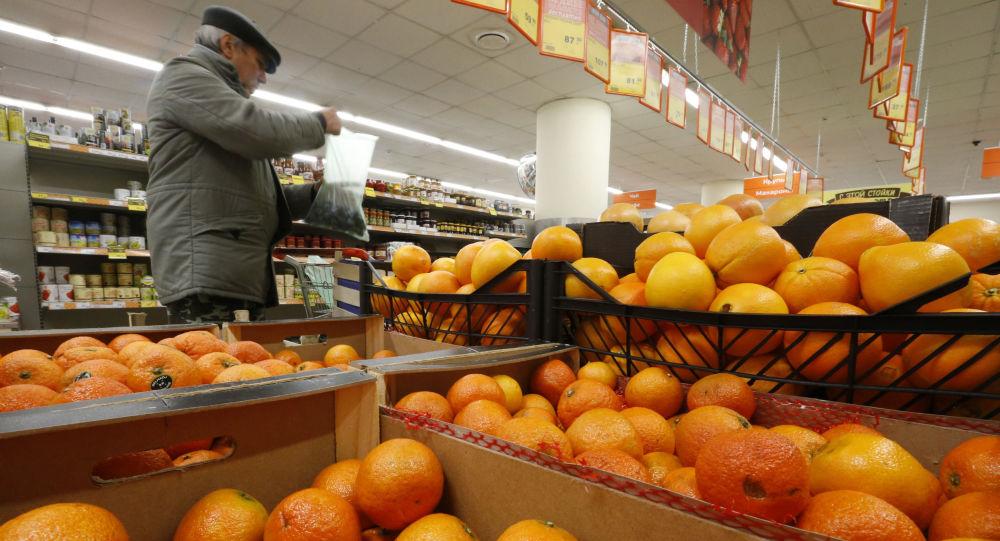 Prodej pomerančů v Moskvě