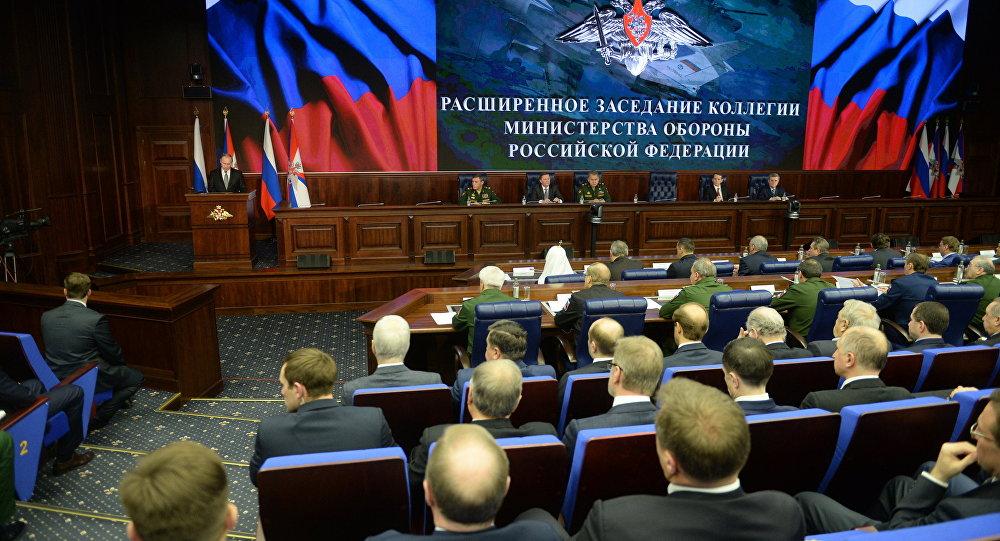 Vladimir Putin na zasedání rozšířeného kolegia Ministerstva obrany RF