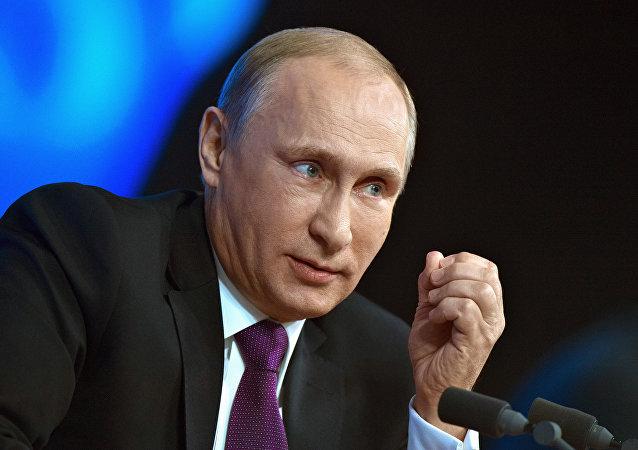 Prezident RF Vladimir Putin během velké tiskové konference