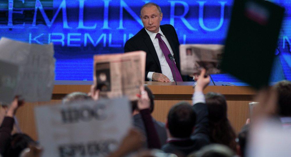 Každoroční tisková konference ruského prezidenta Vladimira Putina