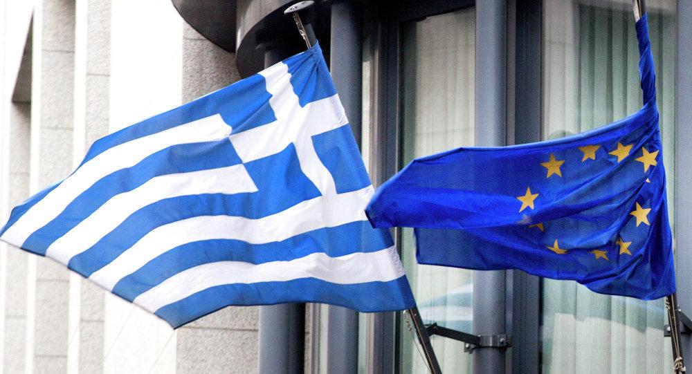 Vlajka Řecka a EU